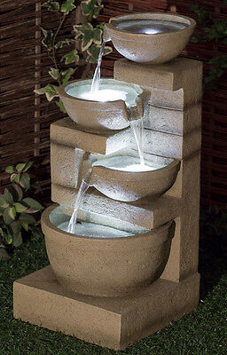 Kendal Cream 4-Tier Cascade Water Feature with Lights Garden Fountain Pot