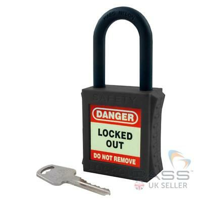 Lockout Fully Insulated Padlock with NYLON Shackle - Key Different (Black)