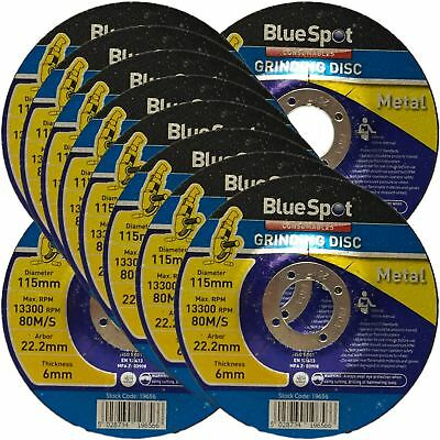 "BlueSpot 115mm 4.5"" Metal Grinding Discs 6mm Angle Grinder Cutting 1, 5 Or 10"
