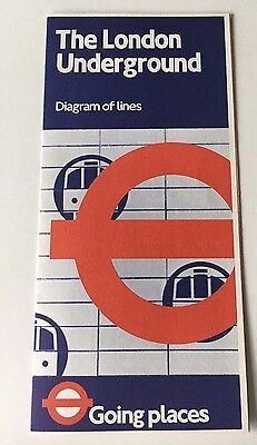 Vintage 1981 London Underground Diagram of Lines Map No. 1 Fold out brochure