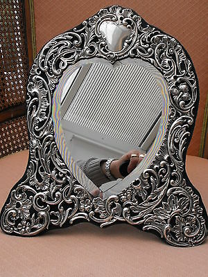 Antique Sterling Silver Ladys Table Mirror. Deakin & Francis B/ham 1904.
