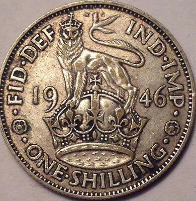 1946 Uk Gb Great Britain Silver One Shilling
