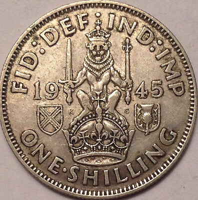 1945 Uk Gb Great Britain Silver Scotish One Shilling