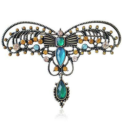 V&A 19th Century Design Indian Filigree Multi Coloured Crystal Butterfly Brooch