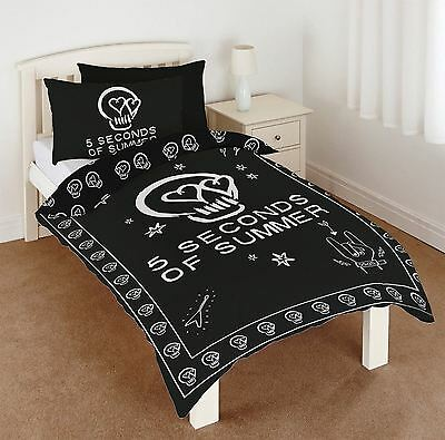 Official 5 Seconds of Summer Single Duvet Set 5SOS Boy Band Panel Quilt Cover