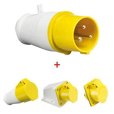 Yellow 110V 16 amp 3 Pin Industrial Plug & Socket Set Male / Female