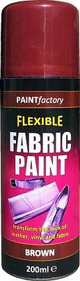 x1 Brown Fabric Spray Paint Leather Vinyl & Much More, Flexible 200ml 5 Colours