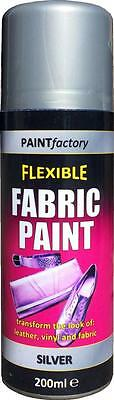 x2 Silver Fabric Spray Paint Leather Vinyl & Much More, Flexible 200ml 5 Colours