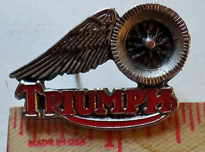 Vintage Triumph winged-wheel pin British motorcycle collectible biker pinback