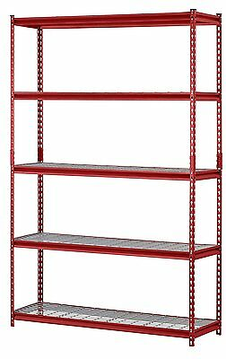Heavy Duty Metal Storage 5 Shelves Shelf Rack Steel Shelving 48 x 18 72 Red Unit