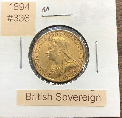 """1894 """"M"""" British Gold Sovereign Gold Coin"""