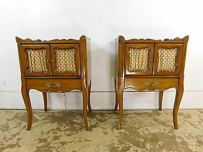 Pair 1960s Vintage Fruitwood French Style Nightstands Tables Finished All Around