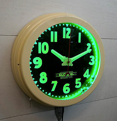 "A 22""  Curtis Neon Clock.    Full face, Fat bezel, Almond with Green!"