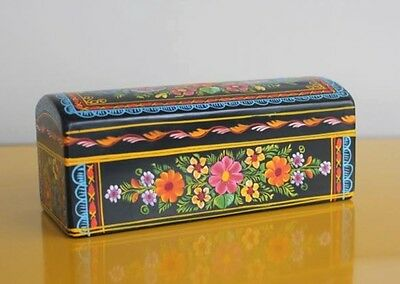 Olinala Black with Flowers Handcrafted Wooden Jewelry Box from Mexico