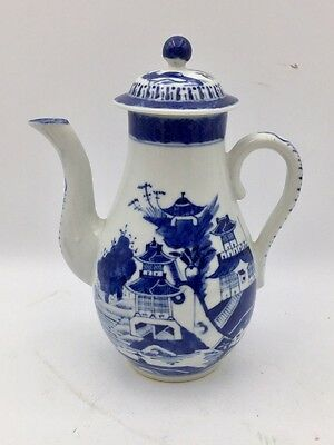 Antique Chinese Blue & White Porcelain Canton Export Lidded Teapot
