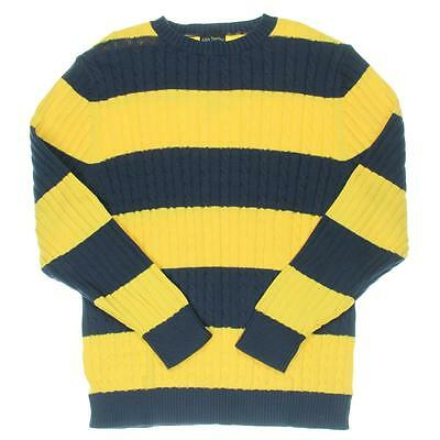 Alex Stevens 8355 Mens Navy Cable Knit Rugby Striped Crewneck Sweater XXL BHFO