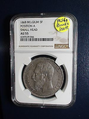 1868 BELGIUM FIVE FRANCS NGC AU55 5F Position A Small Head Coin BUY IT NOW!