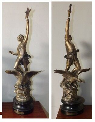Unusual Pair Art Deco French Spelter Figures Le Jour La Nuit (Night & Day)