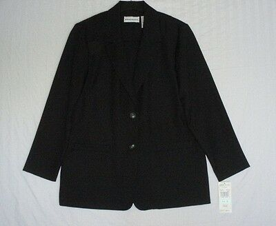 Nwt $50 Alfred Dunner Black Unlined Polyester Blazer Womens Size 8