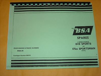 Parts Manual 1967  Motorcycle Fits BSA BANTAM 175cc SPORTSMAN D10 SPORTS 4 speed