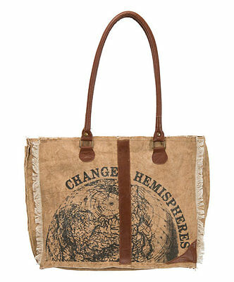 Tote Bag Change Hemispheres Large Canvas Purse with Leather Straps and Fringe