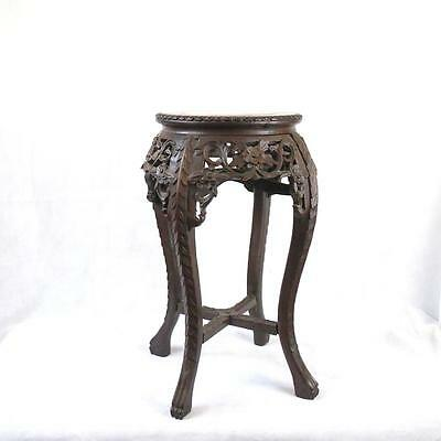 Chinese 19thC Qing Dynasty Jardiniere Stand Marble Top
