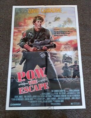 """""""P.O.W The Escape"""" US 1986 original folded one sheet movie poster in ex cond"""