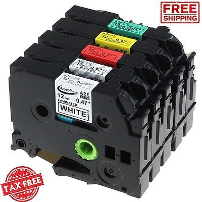 5PK TZe TZ Tape Cartridge 12mm for Brother P-Touch Laminated Label Maker Printer
