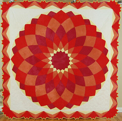 GORGEOUS Vintage 40's Dahlia Patchwork Antique Quilt ~NICE RED & GREAT BORDER!