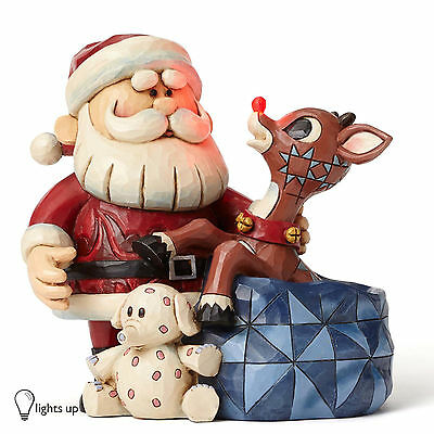 Jim Shore Rudolph The Red Nosed Reindeer Traditions Santa 4053070 Light Up Nose