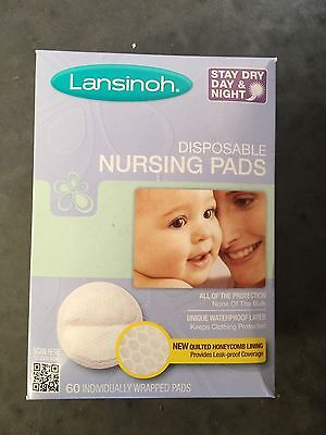 Lansinoh - Stay Dry Disposable Nursing Baby Breast Feeding Pads, 60-Count