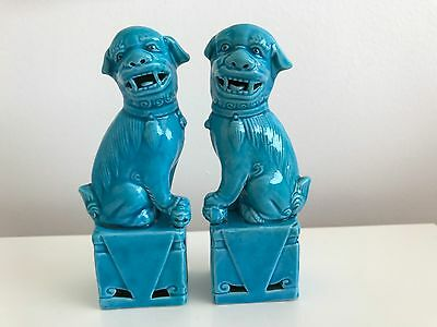 A Pair Of Chinese Small Turquiose Foo Dogs