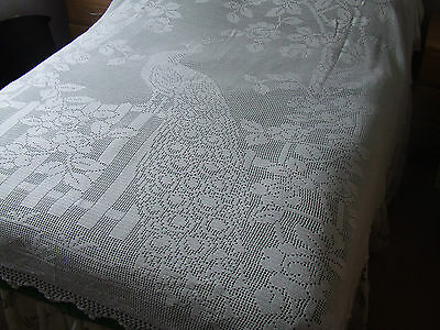 large vintage hand crochet cotton bed cover/throw