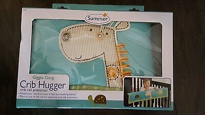 Summer brand Giggle Gang crib hugger rail protector * NIB * zoo animal design