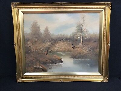 Original A Dakin Oil Painting Pheasant Country Side Scene Hunting Shooting