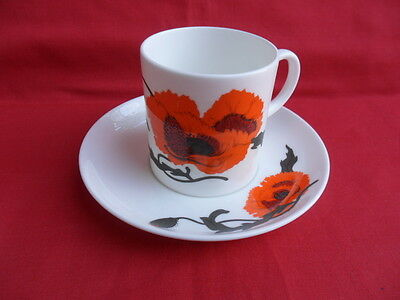 Wedgwood/Susie Cooper, Cornpoppy, 2 x Coffee Cups & Saucers