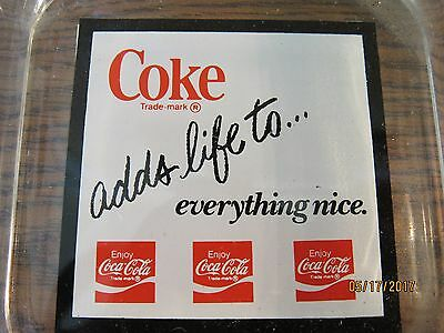 """Old 1970 Coca Cola Glass Ashtray """"coke Adds Life To Everything Nice"""""""