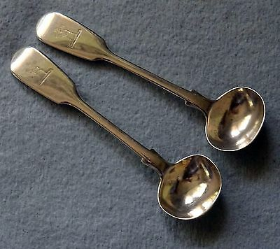 A Pair of Antique Victorian London Hallmarked Silver Salt Spoons