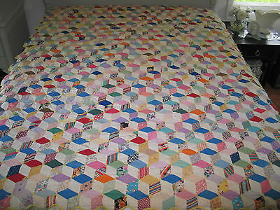 Amazing Antique VTG TUMBLING BLOCKS-Stars Quilt-1930s Feedsacks~Reversible