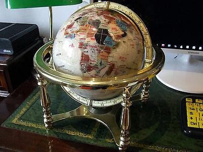 Mother of Pearl Gemstone Globe on Gold Brass Table Top Stand 22cm in diameter