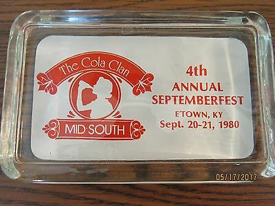 """Old 1980 Coca Cola Glass Ashtray """"the Cola Clan Paperweight E'town, Kentucky"""""""