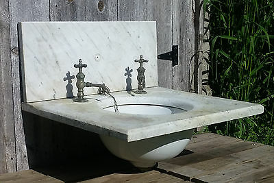 Antique Vtg White Marble Sink Vanity Top & Backsplash, Faucets & Porcelain Basin