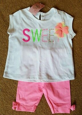 BNWT baby girls outfit set. Top and trousers. Pink. 3-6 months