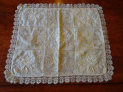 ANTIQUE ITALIAN FILET LACE FLORAL EMBROIDERY BOUDOIR PILLOWCASE COVER-Stunning