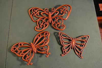 Set of 3 Syroco Homeco Butterflies Butterfly Wall Decor Plaque 3D Faux Wicker
