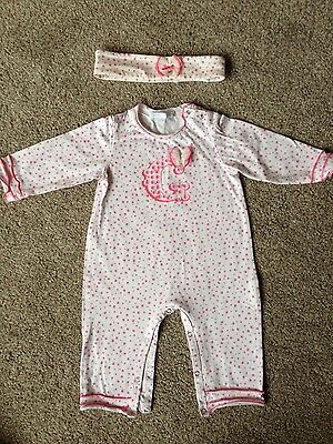 GYMP designer baby girls  outfit and matching headband, age 6months
