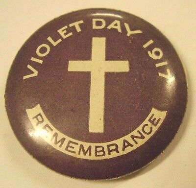 WW1 Home Front Violet Day Remembrance 1917 Button Badge Anzac