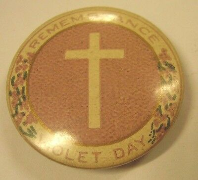 WW1 Home Front Violet Day Remembrance Button Badge Anzac