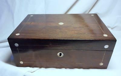 Victorian  Rosewood Sewing Box~Inlaid With Mother Of Pearl & Metal