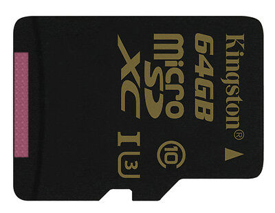 64GB Kingston Gold micro SD XC Memory Card For Drones GoPro Go Pro Hero 3 4 5